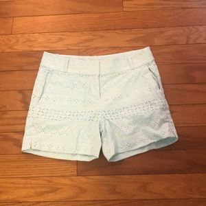 LOFT Shorts - LOFT Embroidered Mint Green Shorts